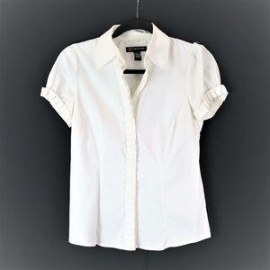 INC white ruffle button up blouse 4